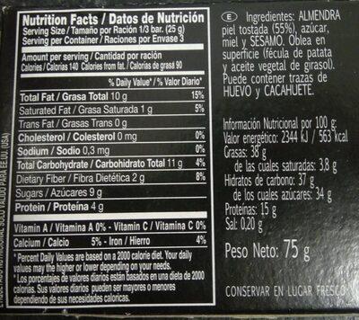 Turrón al caramelo - Nutrition facts - es