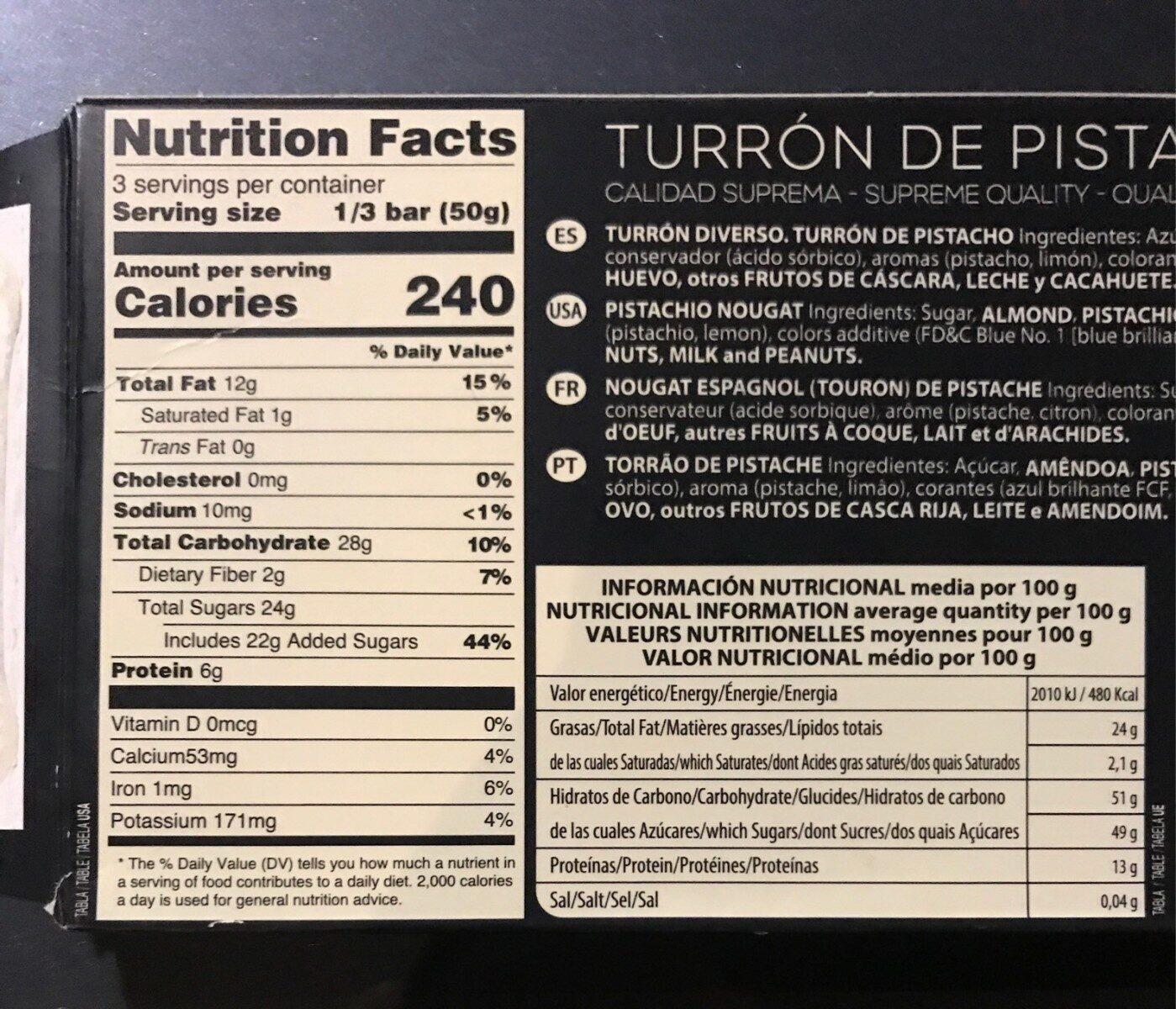 Turrón de Pistacho - Información nutricional - es