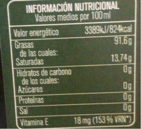 Virgen extra - Informació nutricional - fr