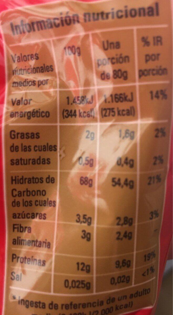 Fideo hueco - Información nutricional - es