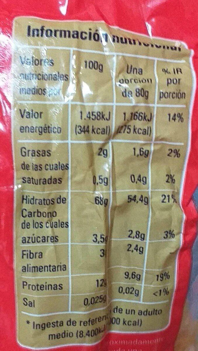 Fideo 4 - Información nutricional - es