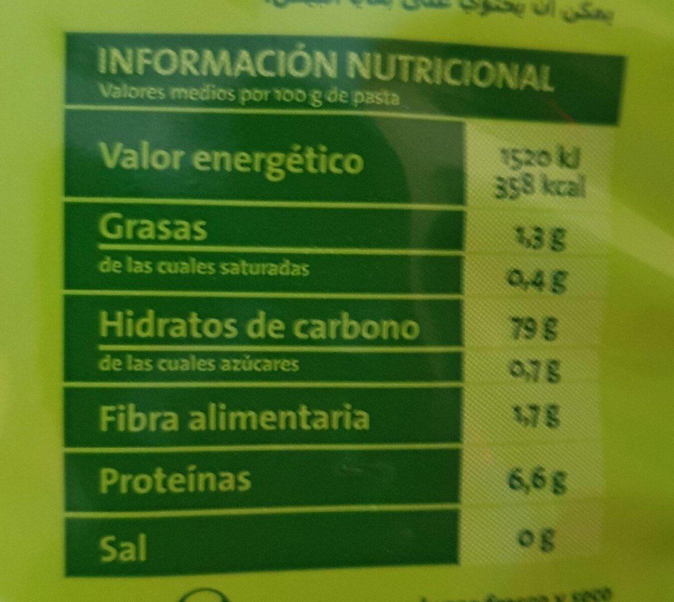 Pasta sin gluten - Informació nutricional