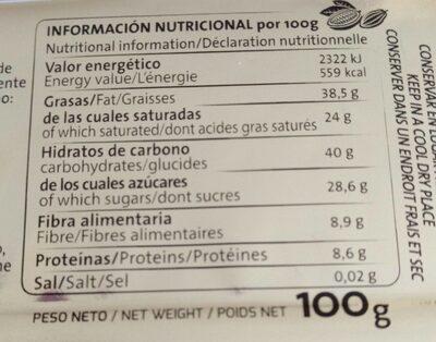 Chocolate negro 70% cacao - Información nutricional - es
