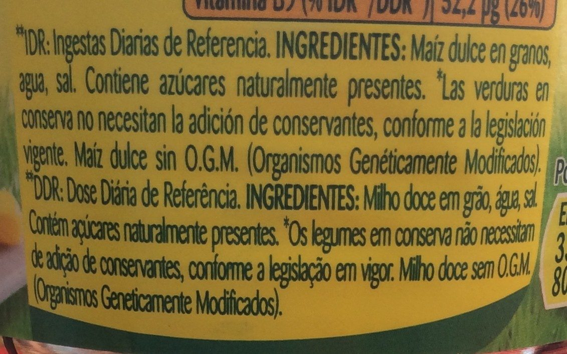 Maíz dulce - Ingredientes - fr