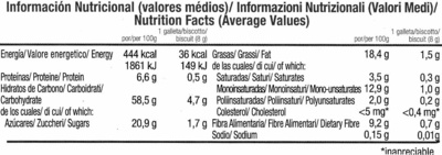 Cookies con chocolate - Nutrition facts