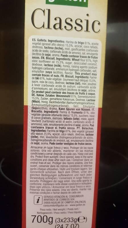 Classic - Ingredientes