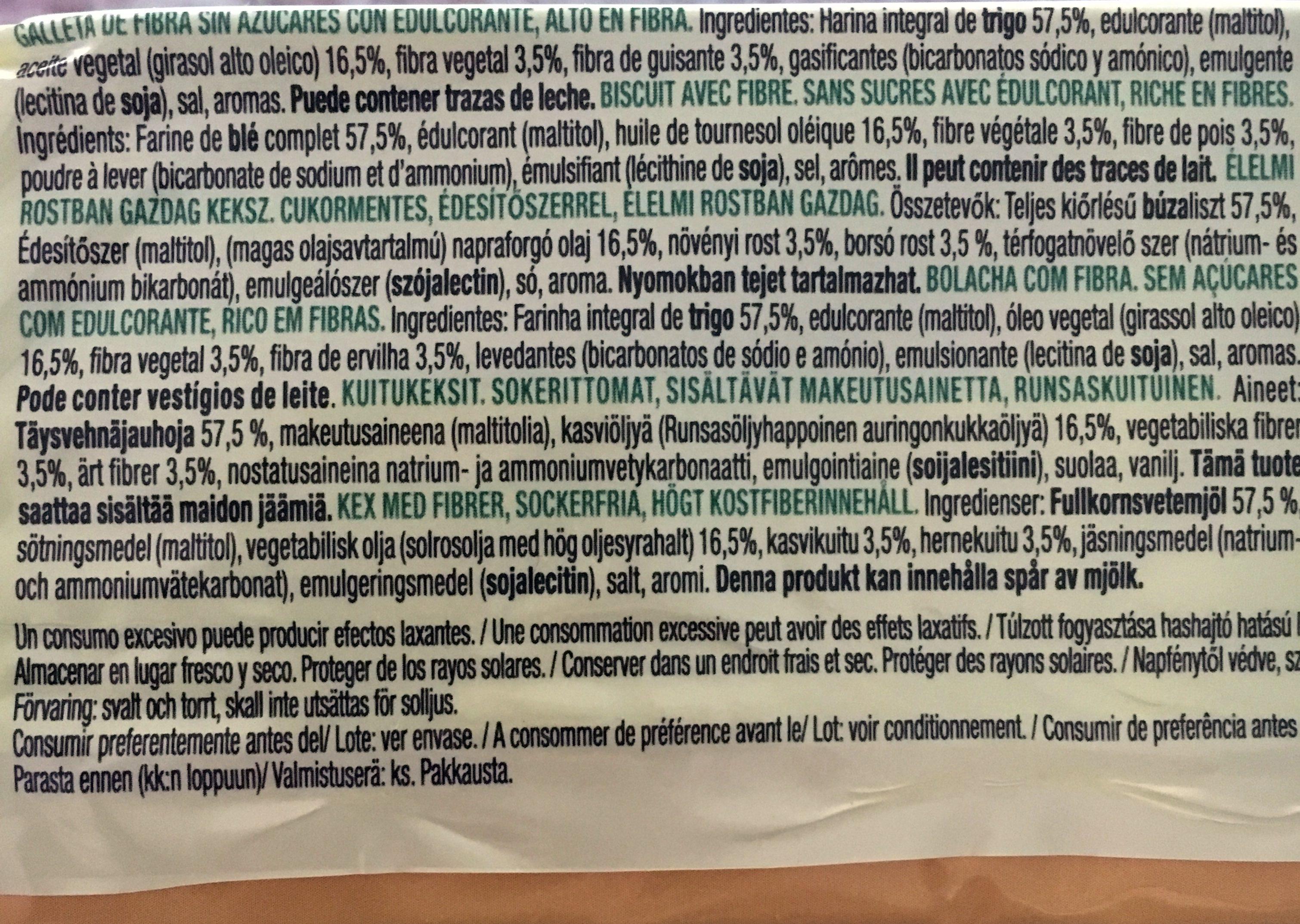 Diet Nature fibra integral sin azúcares - Ingredients