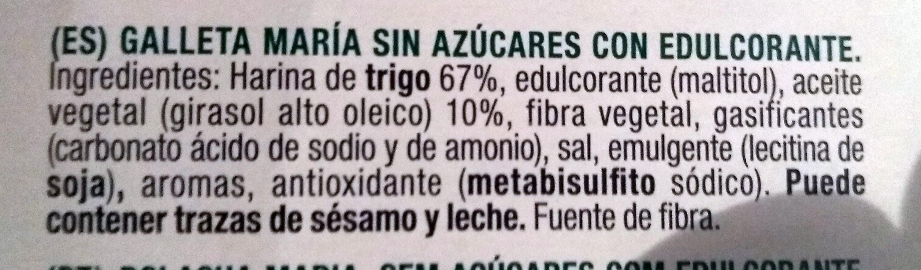 Diet Nature María sin azúcares - Ingredientes - es