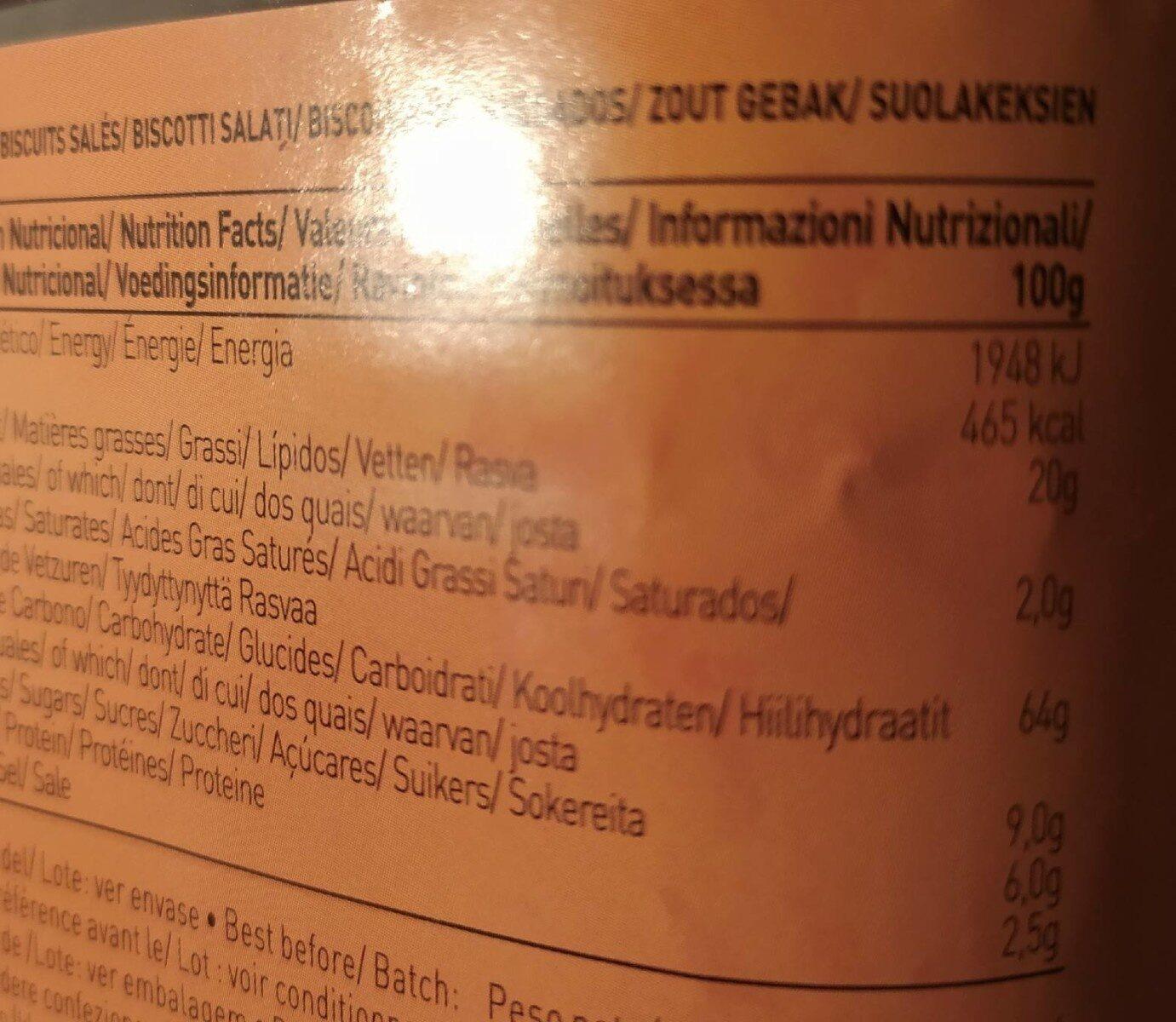 Pick Mini Crackers - Informació nutricional - fr