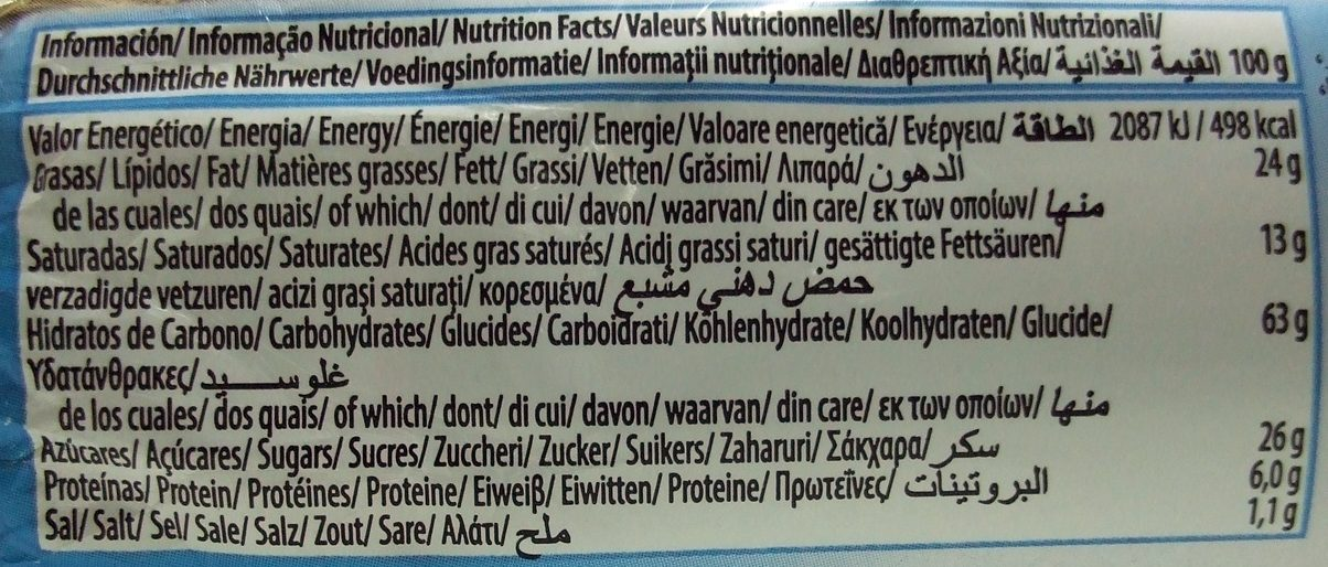 Choco Digestive - Información nutricional - es