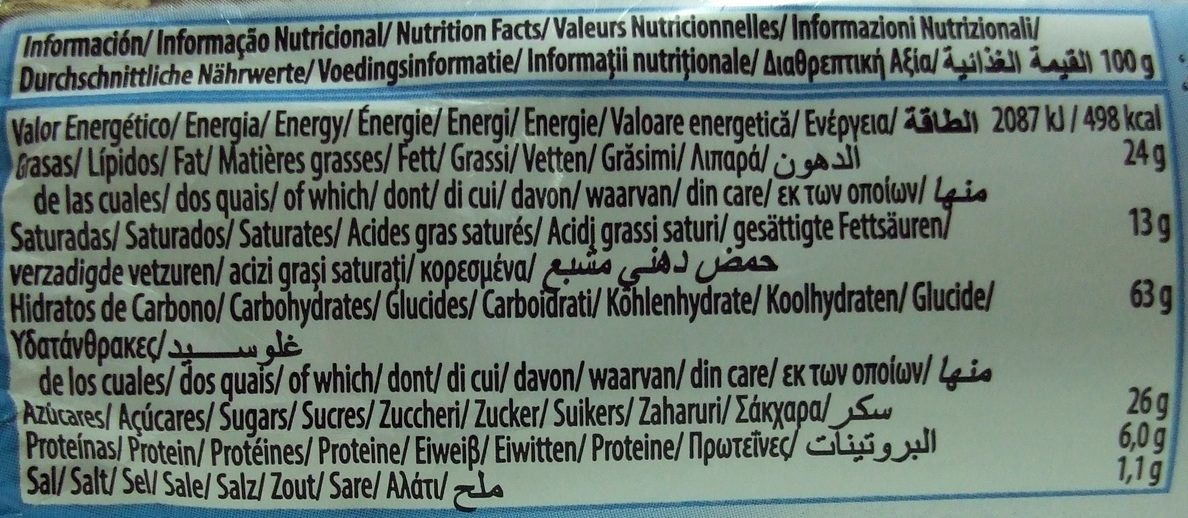 Choco Digestive - Nährwertangaben