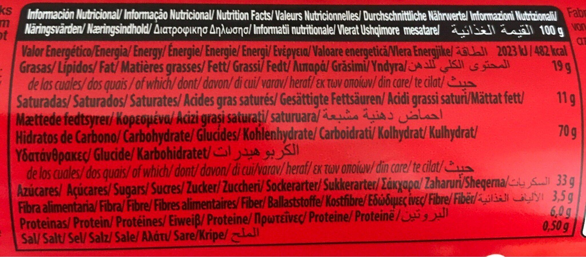 Biscuits Mega Duo - Información nutricional