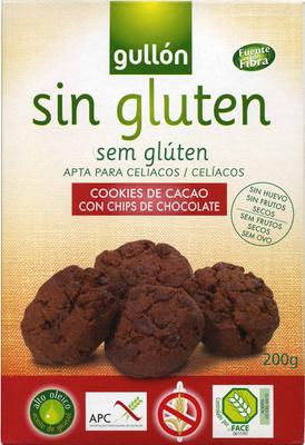 Cookies de cacao con chips de chocolate sin gluten,
