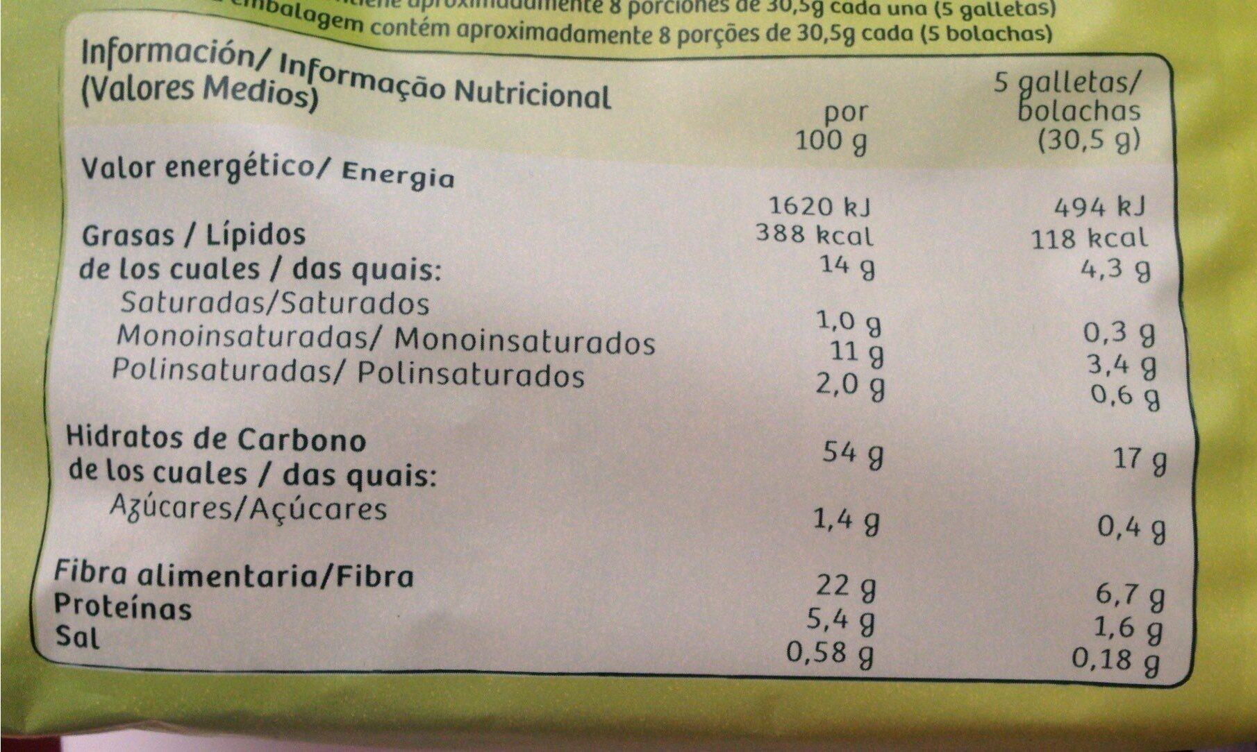 Diet-Fibra - Galletas sin azúcares añadidos - Información nutricional - es