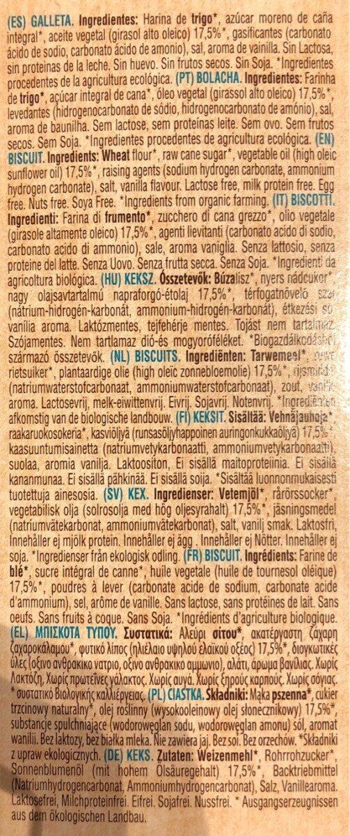 Bio organic galletas maría sin lactosa, sin huevo, - Ingrédients - fr