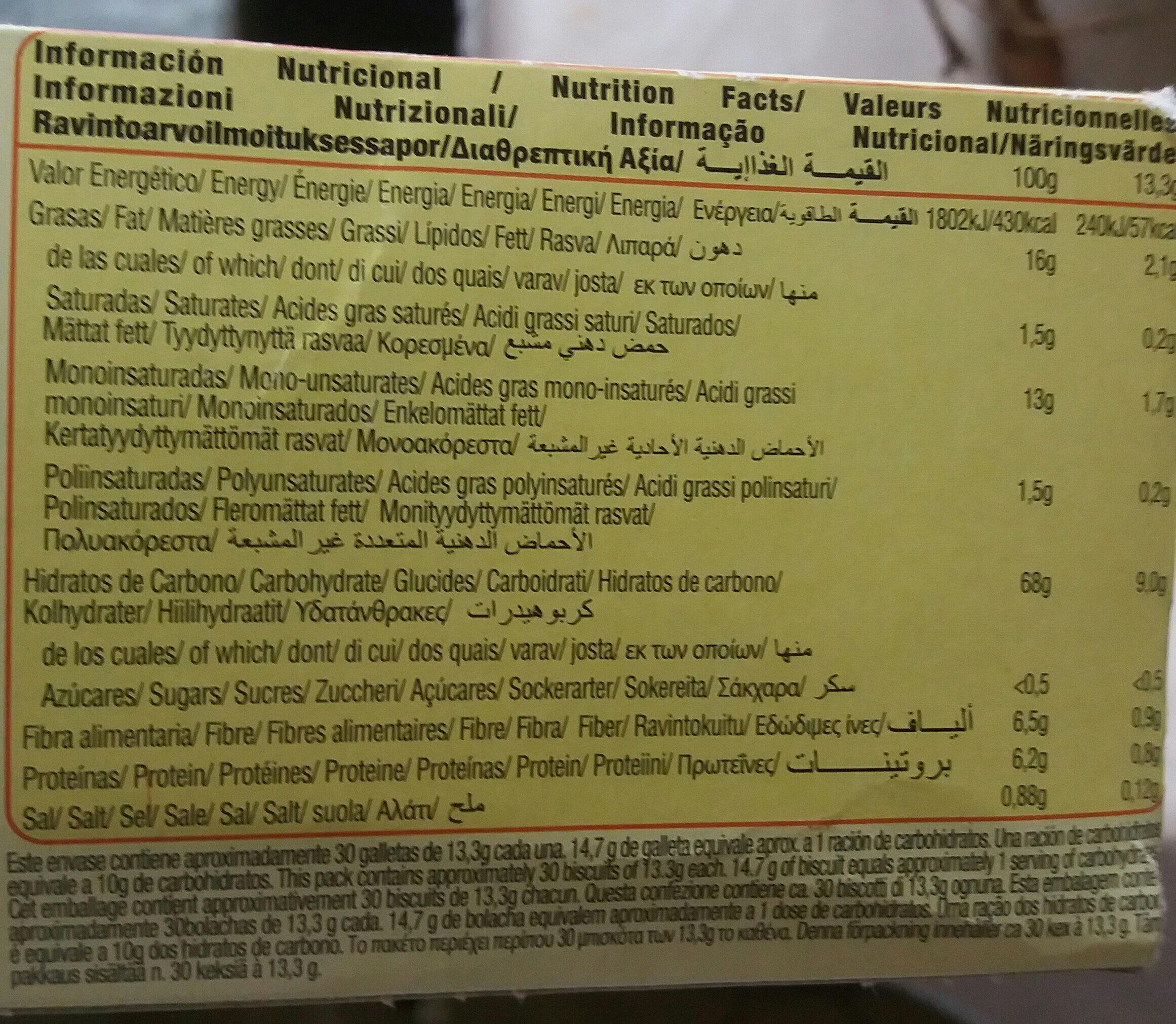 Diet Nature Digestive sin azúcares - حقائق غذائية - fr