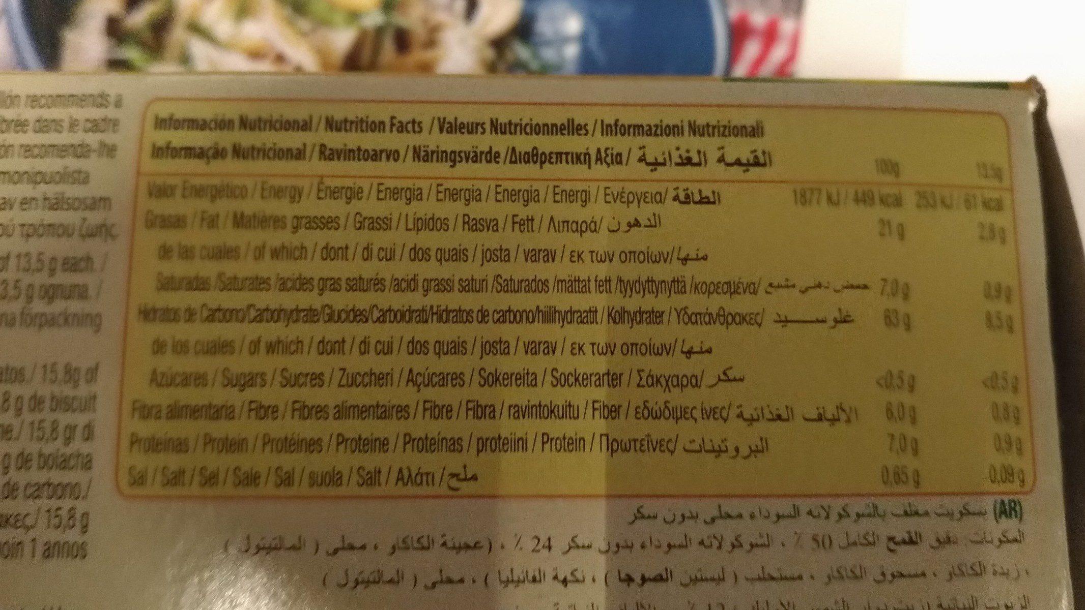 Diet Nature Digestive choco sin azúcares - Nährwertangaben - en
