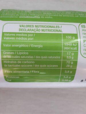 Galletas rellenas de chocolate - Informations nutritionnelles - es