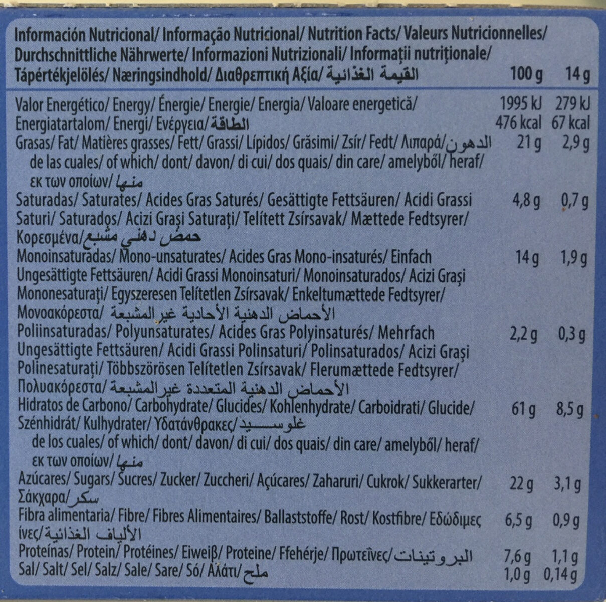 Galletas Digestive Avena choco - Informations nutritionnelles - en
