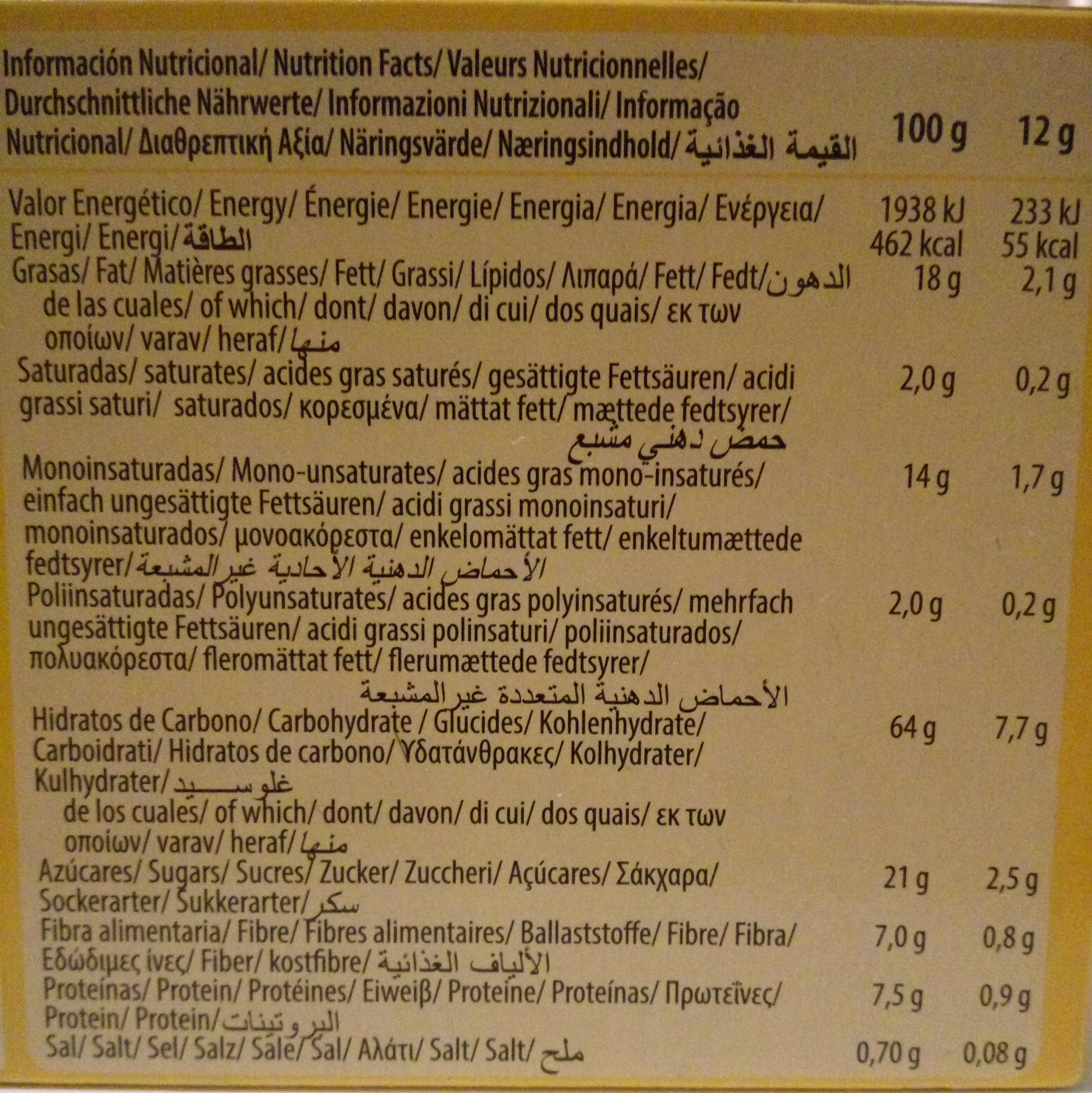 Digestive muesli - Información nutricional - es