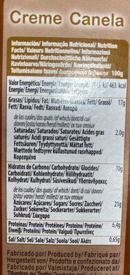 Galleta Gul.creme Canela - Nutrition facts - en