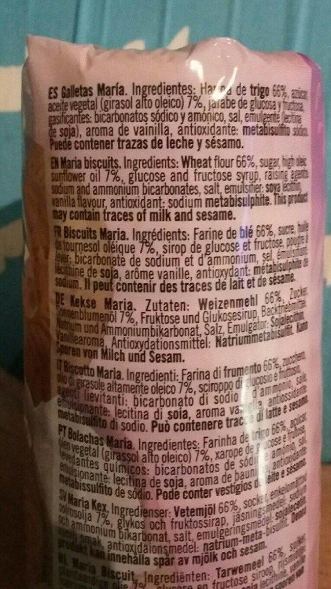 Galleta maria hojaldrada - Información nutricional