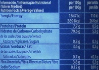 Tortitas de arroz paquete 130 g - Informació nutricional - es