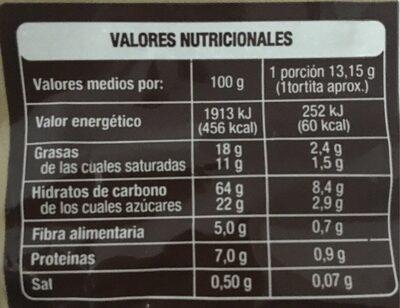 Tortitas de arroz integral con chocolate negro - Información nutricional - es