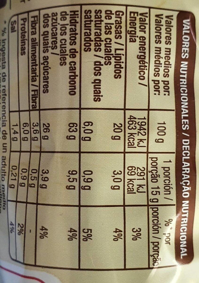 Digestive chocolate - Nutrition facts - es