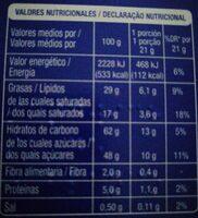 Galletas bolachas sandwich - Información nutricional