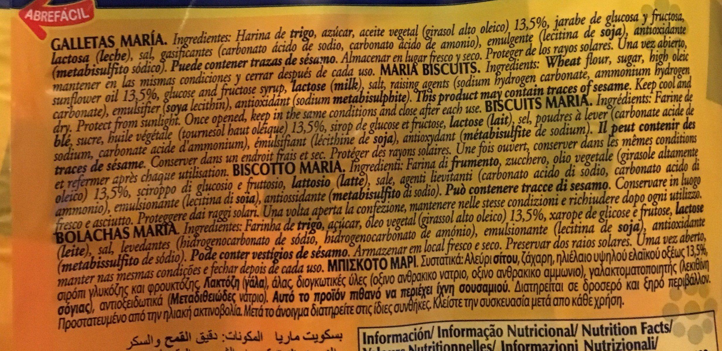 Galleta dorada - Ingrediënten - es