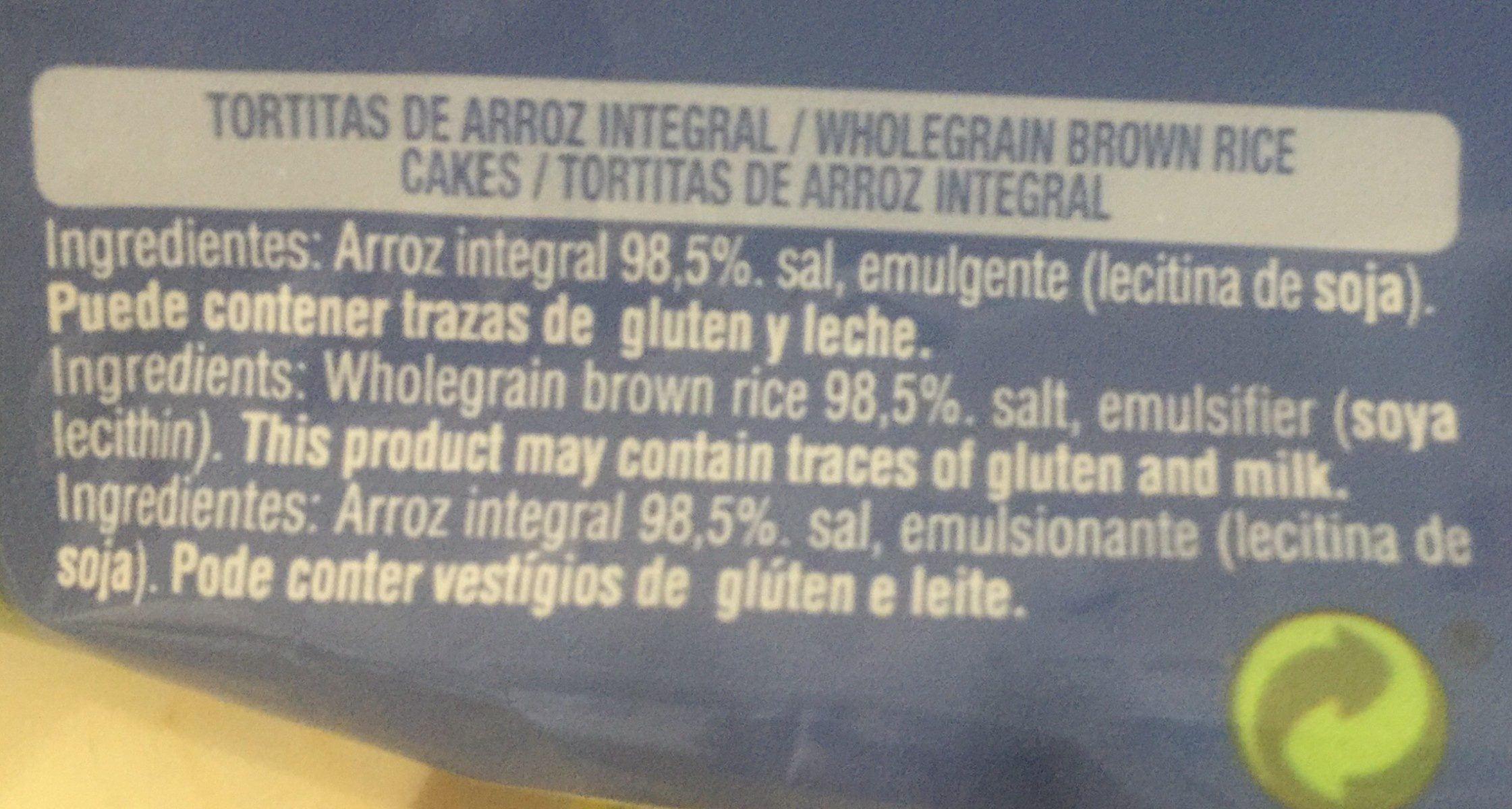 Gullón Tortitas De Arroz Integral Vitalday - Ingredientes - fr
