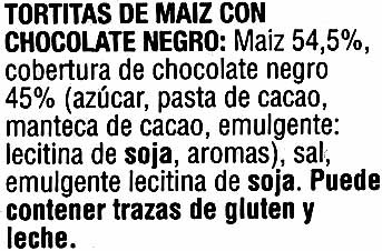 Tortitas de maíz con chocolate negro - Pack de 4 - Ingredients