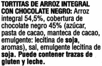 Tortitas de arroz con chocolate negro Vitalday - Ingrédients