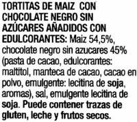 Tortitas de maíz con chocolate negro Diet Nature - Ingredients