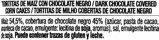 Tortitas de maíz con chocolate negro Vitalday - Ingredients - es