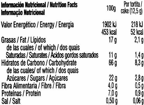 Tortitas de maíz con chocolate negro Vitalday - Informació nutricional - es