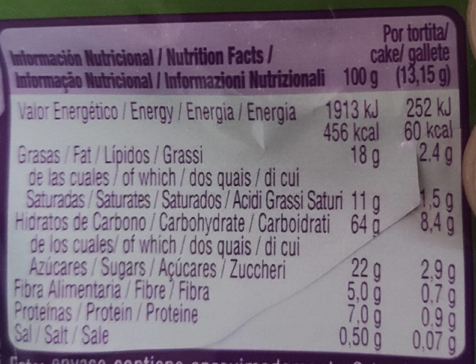 Vitalday - Valori nutrizionali - es