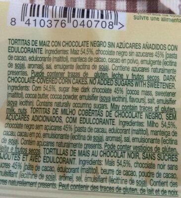 Tortitas de Maiz Milho con Chocolate Negro - Voedingswaarden - en