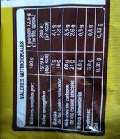 Tortitas de maíz con chocolate negro - Informations nutritionnelles - es