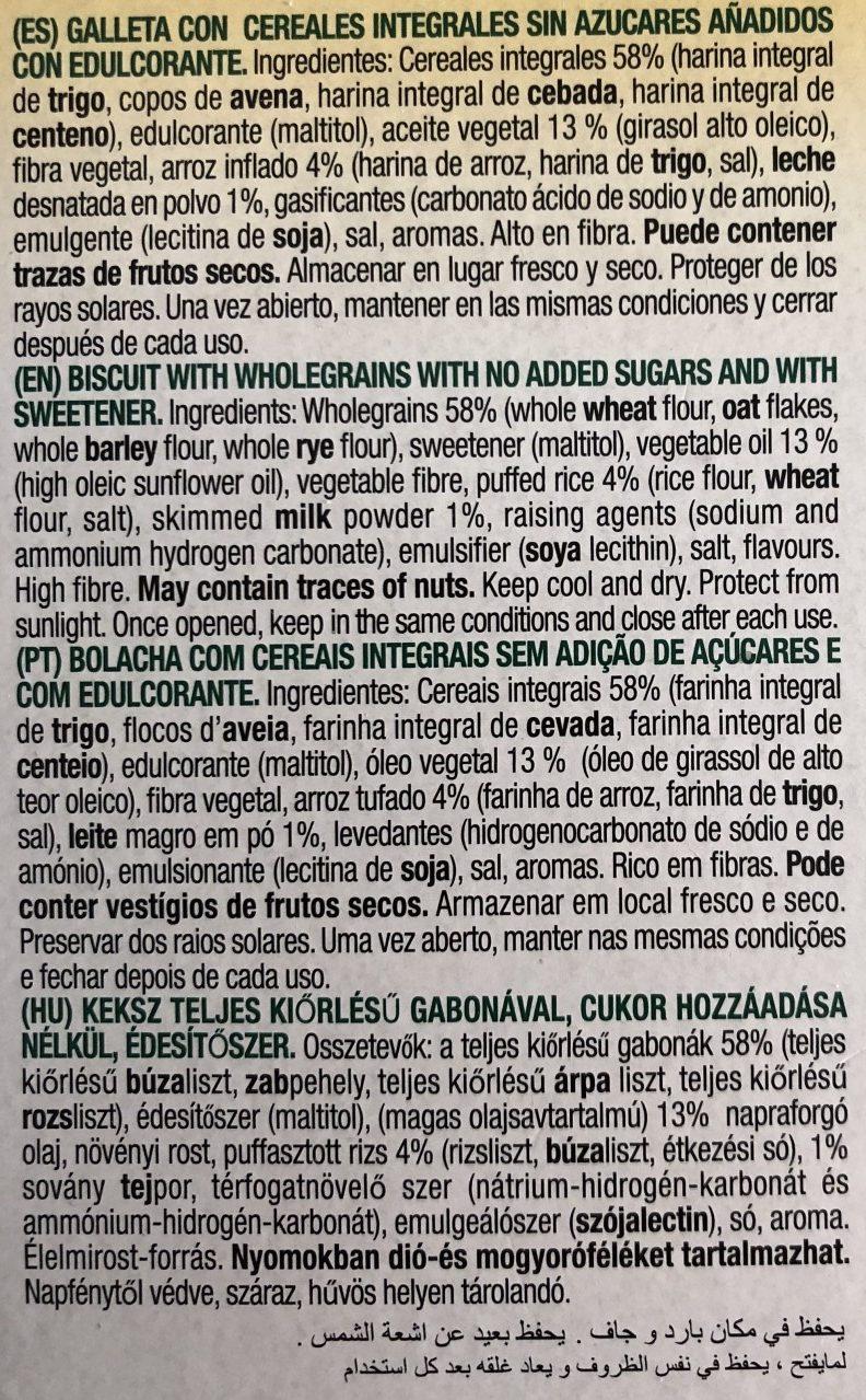 Galletas de desayuno con cereales integrales - Ingredientes