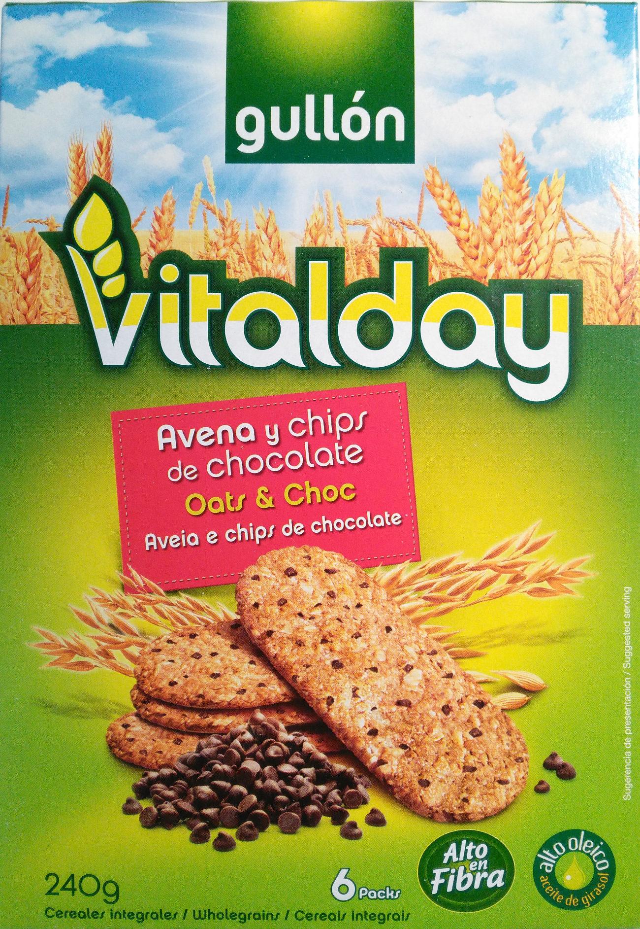 Vitalday galletas de avena con chips de chocolate - Producto - es