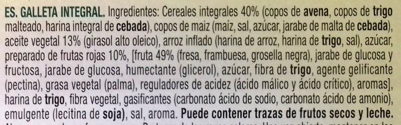 Vitalday 5 cereales con frutos rojos - Inhaltsstoffe - es