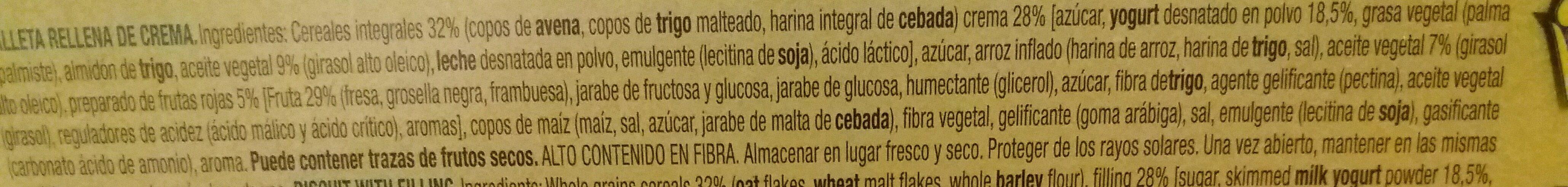 Vitalday sandwich sabor yogurt con avena y frutos rojos - Ingredientes - es
