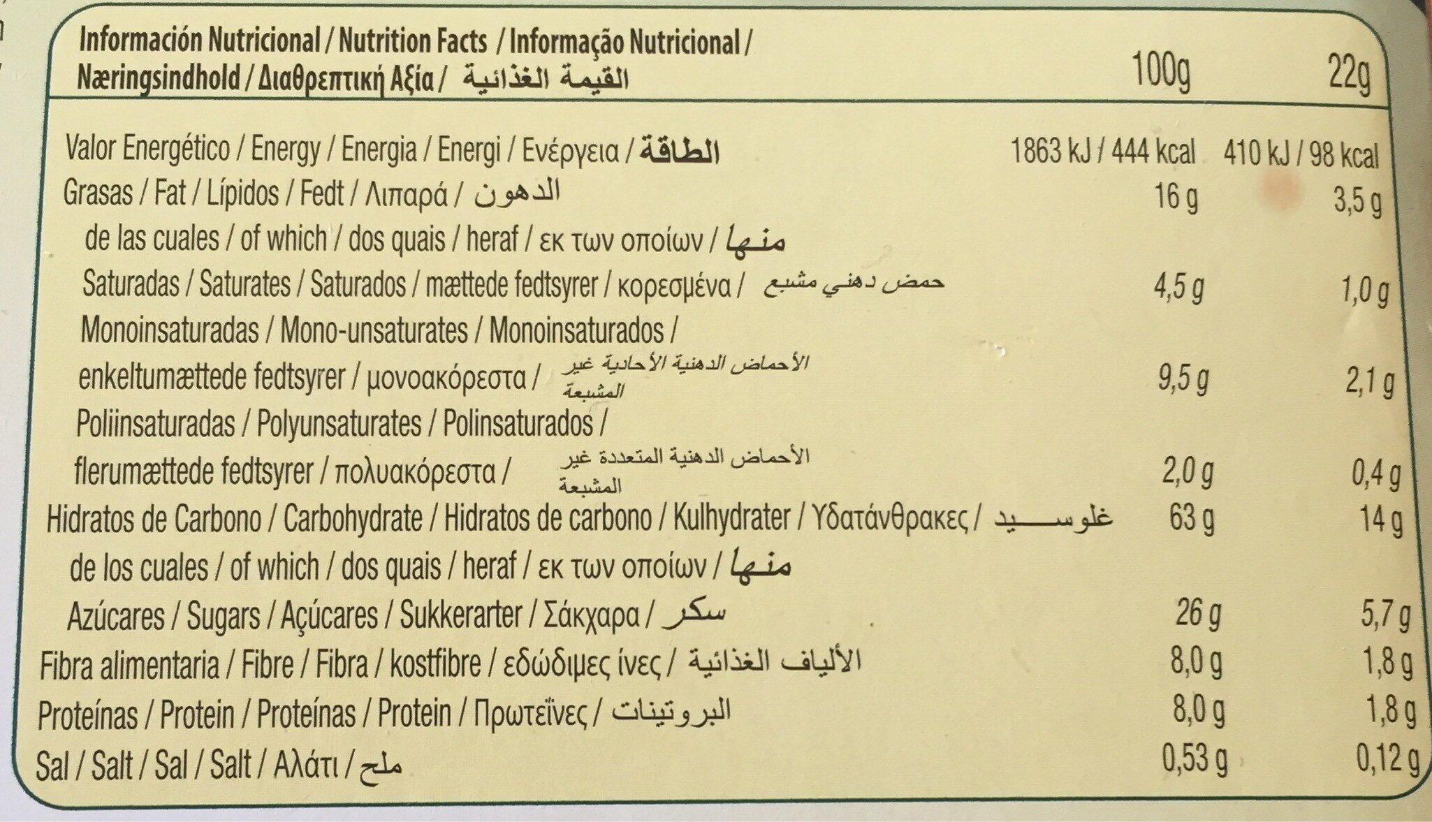 Vitalday sandwich sabor yogurt con avena y frutos rojos - Información nutricional - es