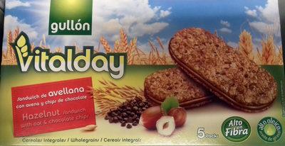 Vitalday - Sandwich de avellana con avena y chips de chocolate - Producto