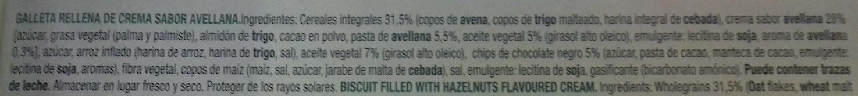 Vitalday - Sandwich de avellana con avena y chips de chocolate - Ingredientes