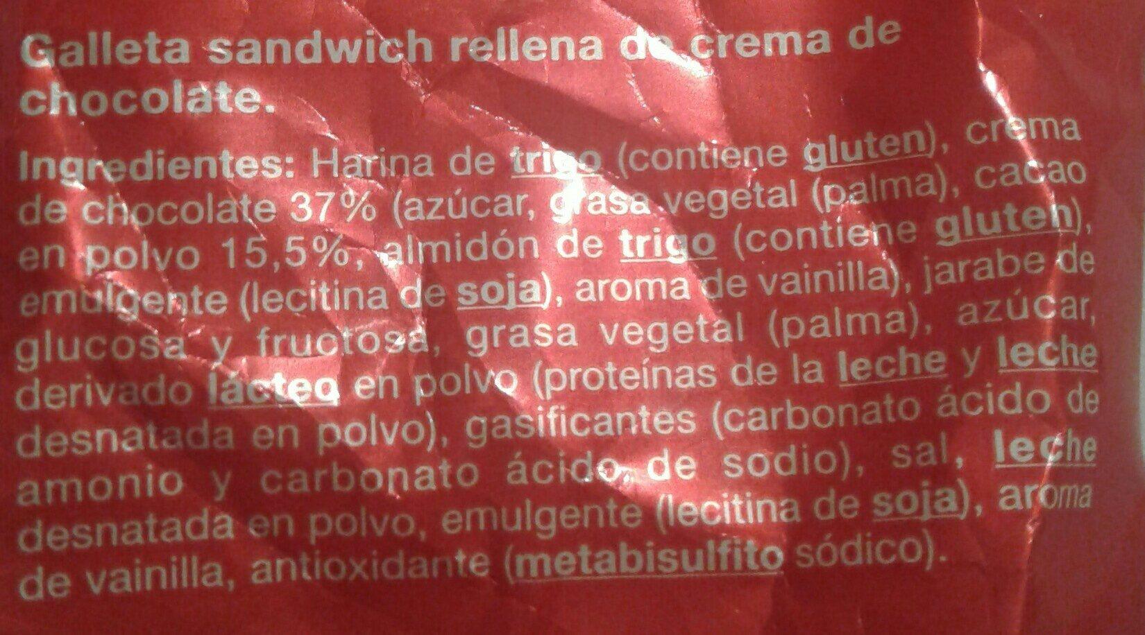 Galletas de chocolate - Ingredients - es