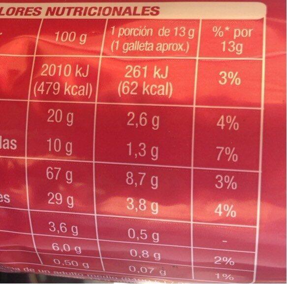 Galletas de chocolate - Nutrition facts - es