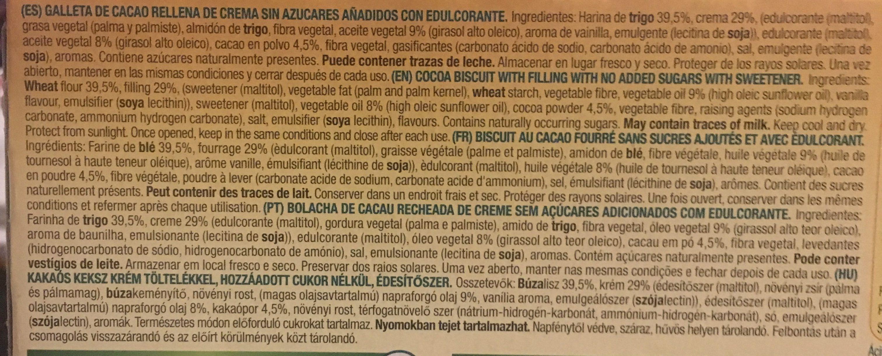 Galletas sandwich de cacao rellenas de crema - Ingredients